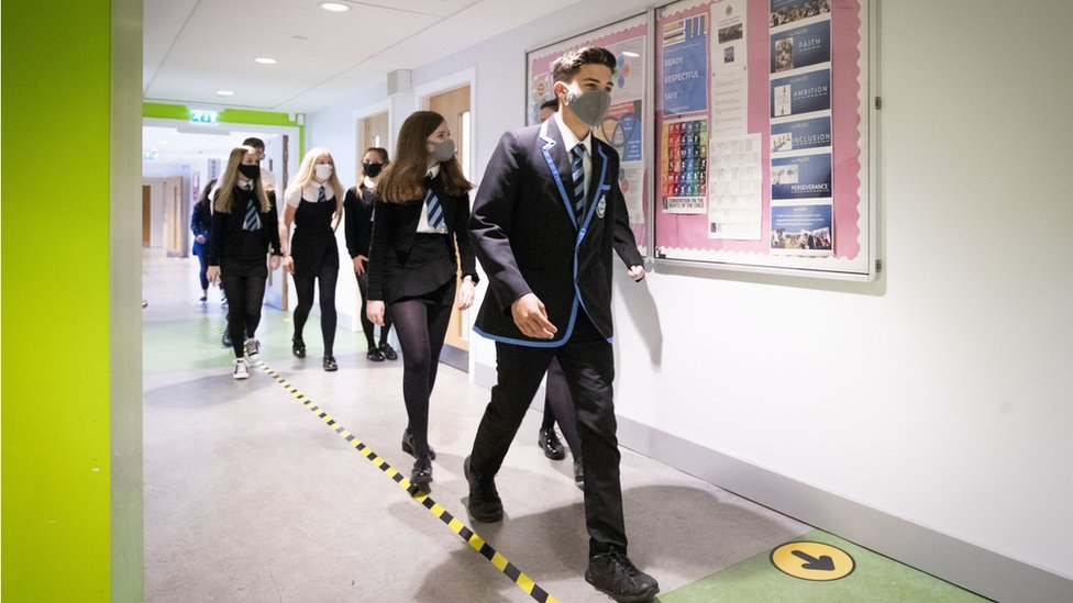 Pupils in corridor