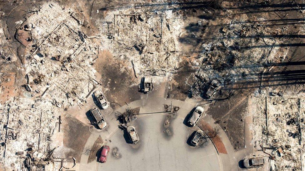 In this aerial view, a burned neighbourhood is seen in Santa Rosa, California