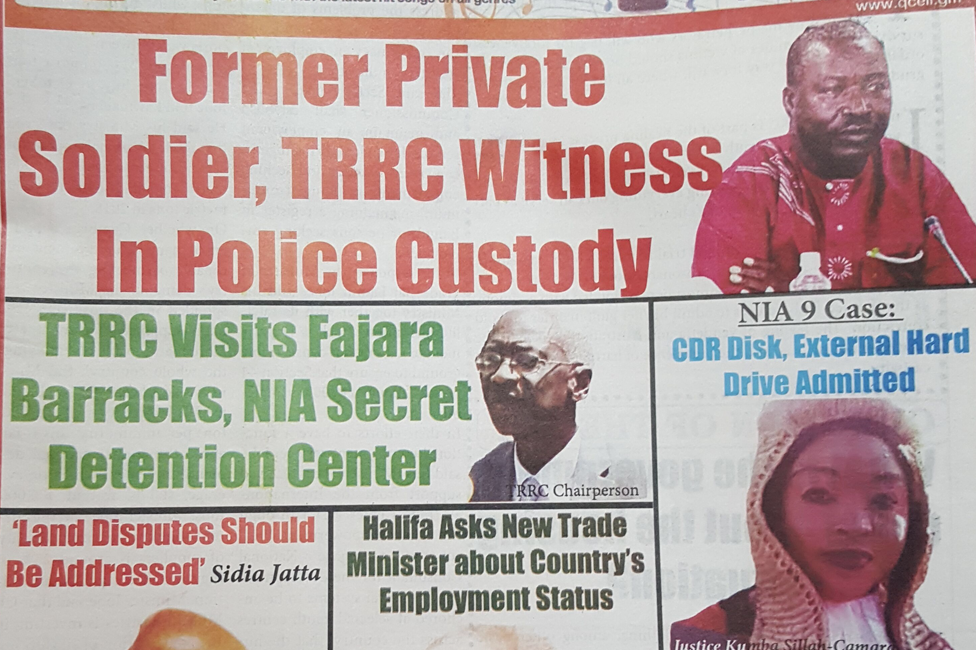 Headlines in an edition of the Foroyaa newspaper from 3 April 2019