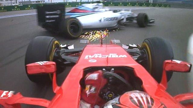 Kimi Raikkonen collides with Valtteri Bottas in Russia