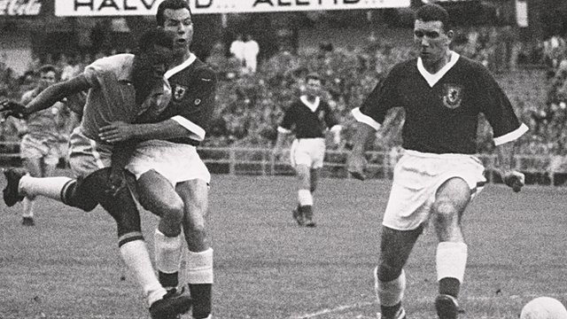 Pele takes on Wales at the 1958 World Cup