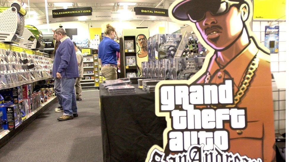 Promoción de GTA San Andreas en una tienda en Portland.