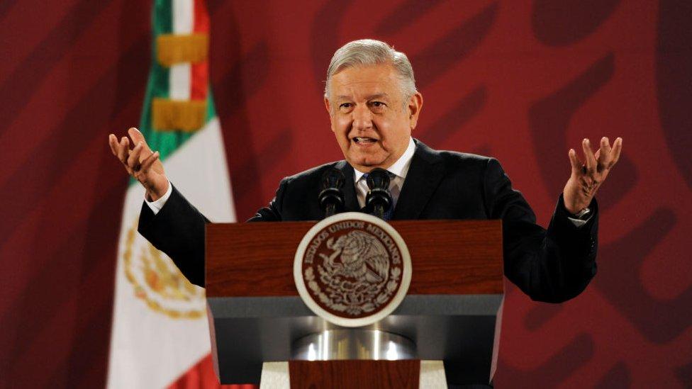 El presidente de México, Andrés Manuel López Obrador, durante una rueda de prensa a raíz de la matanza de una familia religiosa en la localidad de Bavispe, en el estado de Sonora.