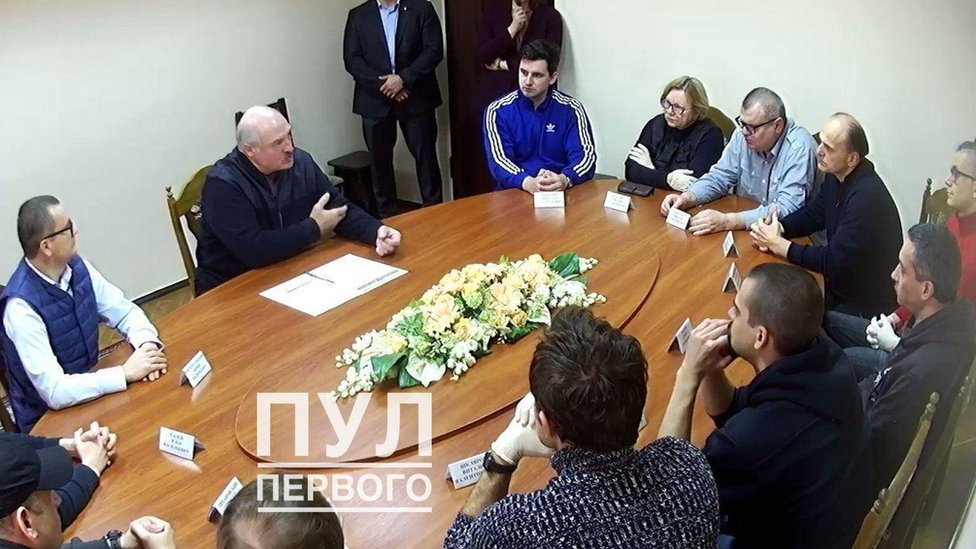 Belarus protests: Lukashenko holds meeting with opponents in jail thumbnail