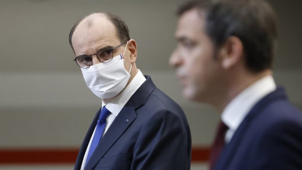 French Prime Minister Jean Castex (L) and French Health Minister Olivier Veran address a press conference in Paris, France