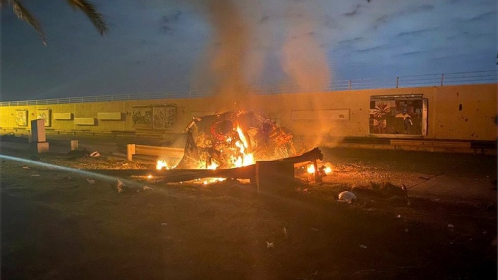 Burning debris outside Baghdad International Airport