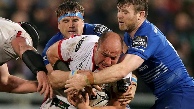 Leinster pair Jamie Heaslip and Gordon D'Arcy tackle Ulster captain Rory Best