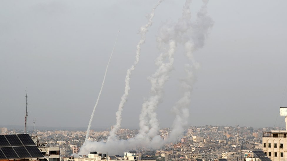 Rockets are launched towards Israel on 10 May 2021