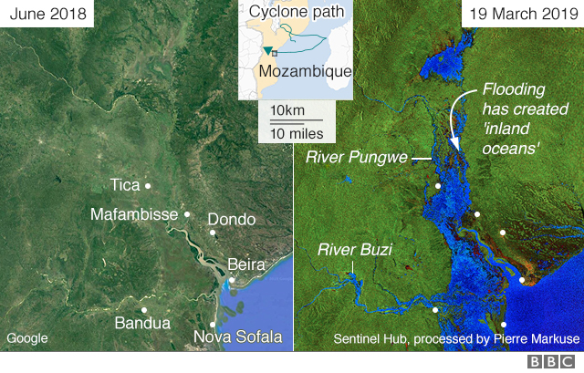 Satellite image showing areas of Mozambique before and after they were flooded
