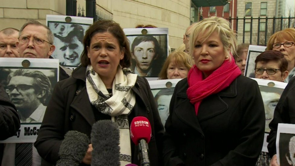 Mary Lou MacDonald with Michelle O'Neill outside Laganside Courts