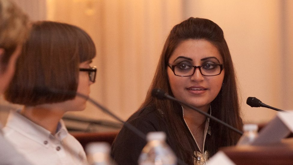 Gulalai Ismail speaking at a conference