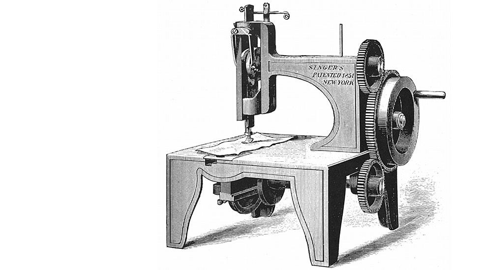 La primera máquina de coser Singer, hecha por Isaac Singer y patentada en 1851.