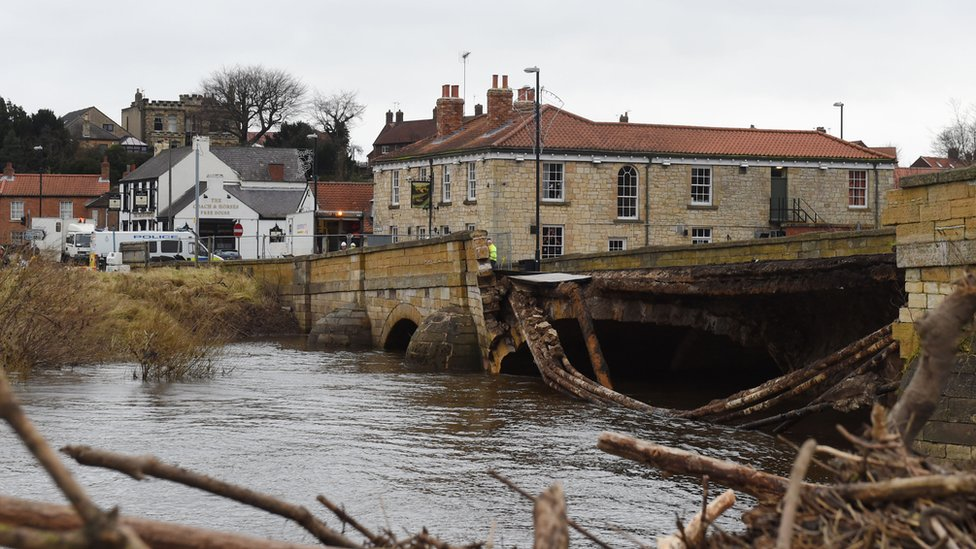 Bridge over River Wharfe at Tadcaster in North Yorkshire