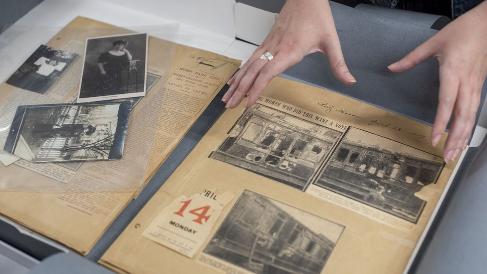Kitty Marion's scrapbook with newspaper clippings