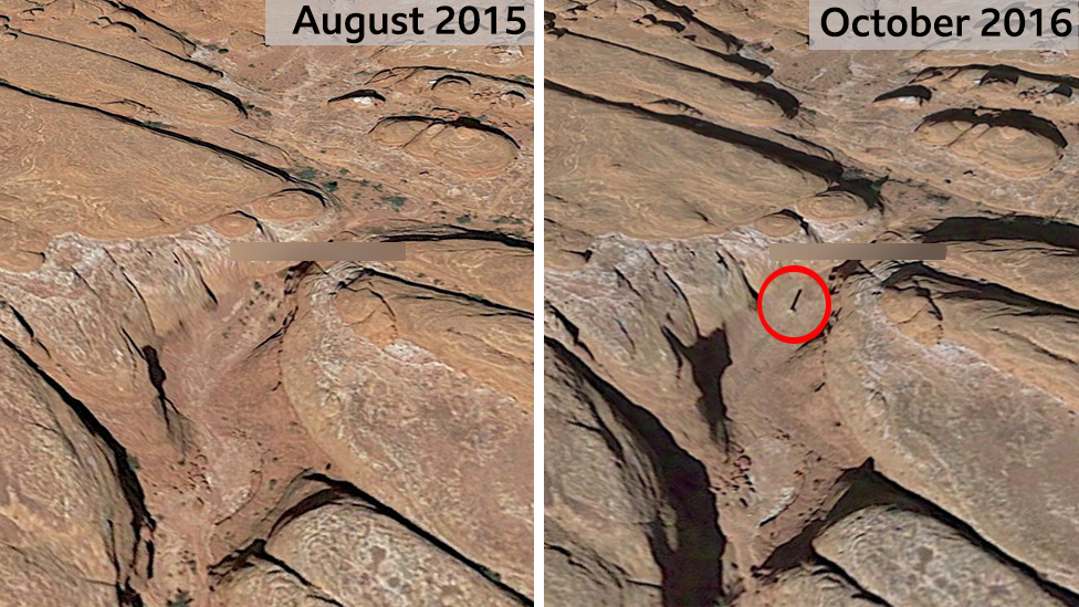 Satellite images showing the location of the Utah monolith