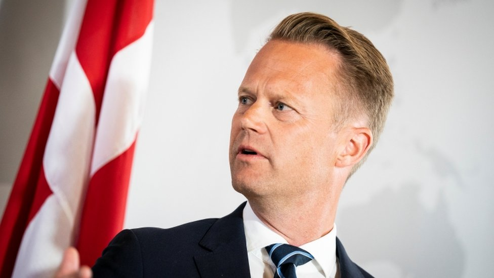 Danish Foreign Minister Jeppe Kofod attends a news conference in Eigtved