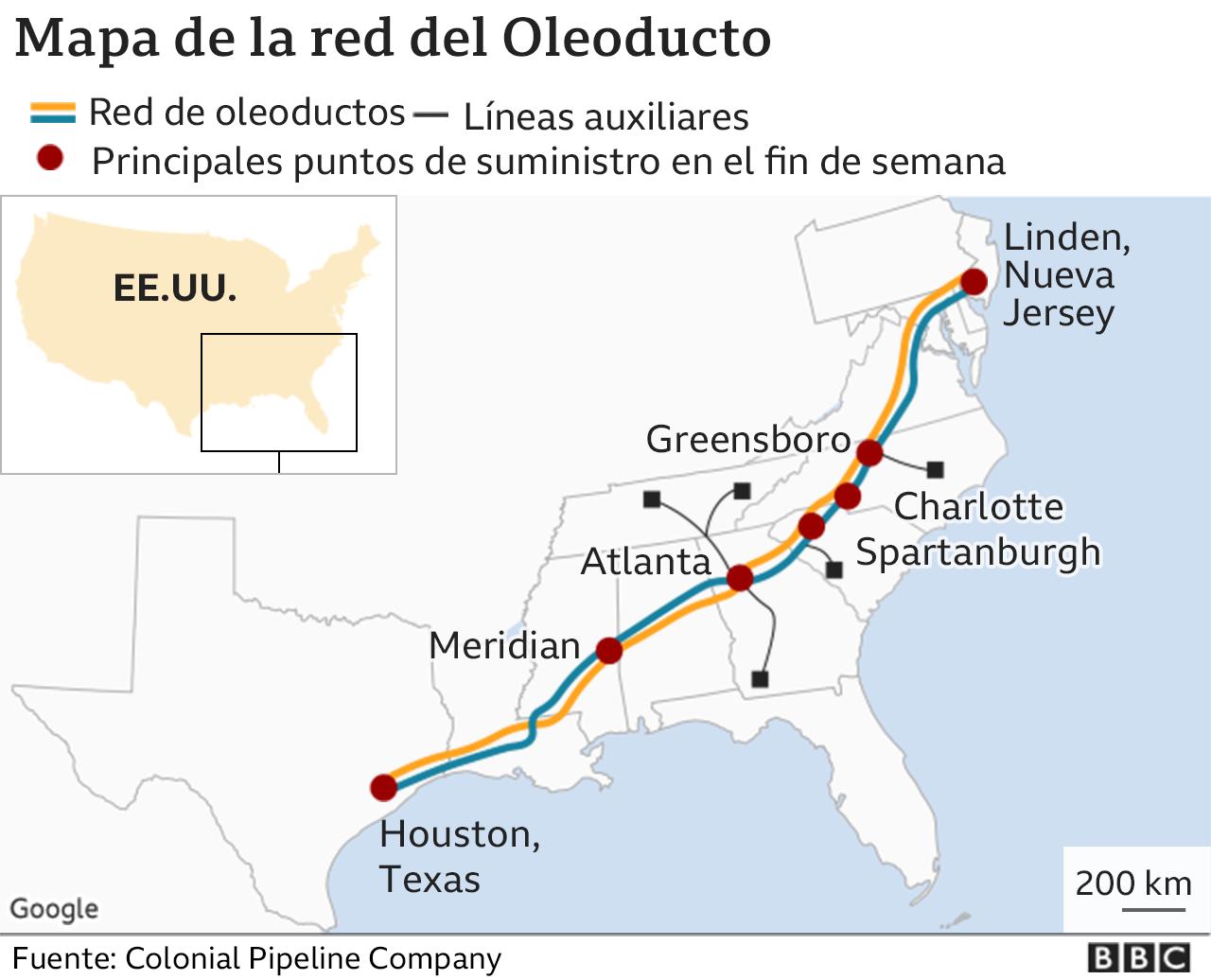 Mapa del oleoducto Colonial