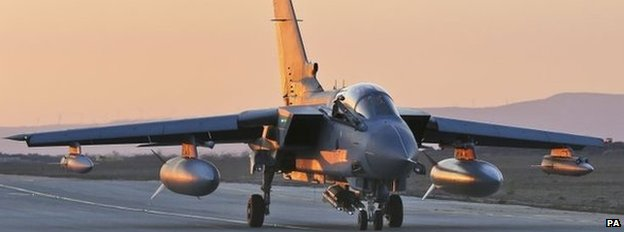 Handout photo dated 01/10/14 issued by the Ministry of Defence of a RAF Tornado GR4 returning to RAF Akrotiri in Cyprus