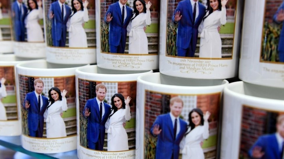 Mugs marking the wedding of Britain's Prince Harry and his fiancee Meghan Markle are on display at a souvenir shop in London,