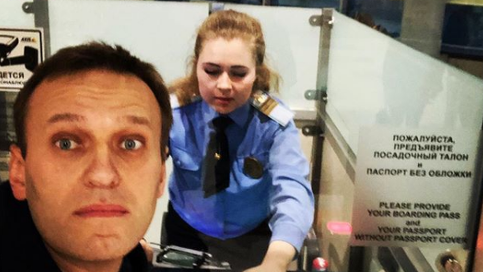 Alexei Navalny at passport control in Moscow