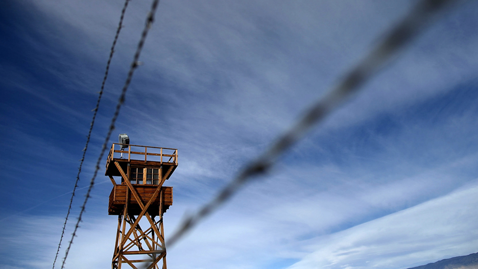 A replica of a guard tower at Manzanar National Historic Site, one of 10 internment camps where Japanese American citizens were incarcerated during World War Two