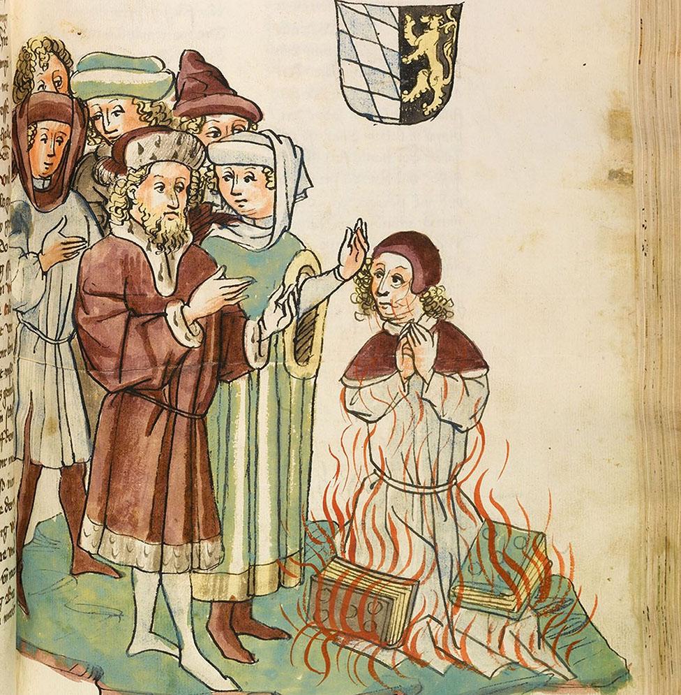 """Quema de Jan Hus en la hoguera, una ilustración de """"La vida y los tiempos del Emperador Segismundo por Eberhard Windeck"""", c. 1450. Dibujado por Diebold Lauber."""