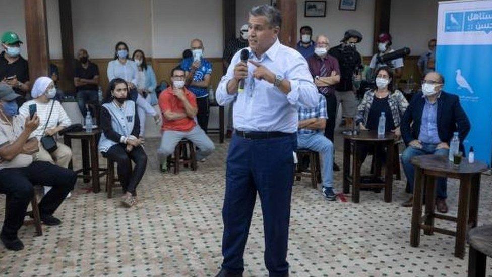 عزيز أخنوش وزير الفلاحة وزعيم حزب التجمع الوطني للأحرار خلال حملة انتخابية