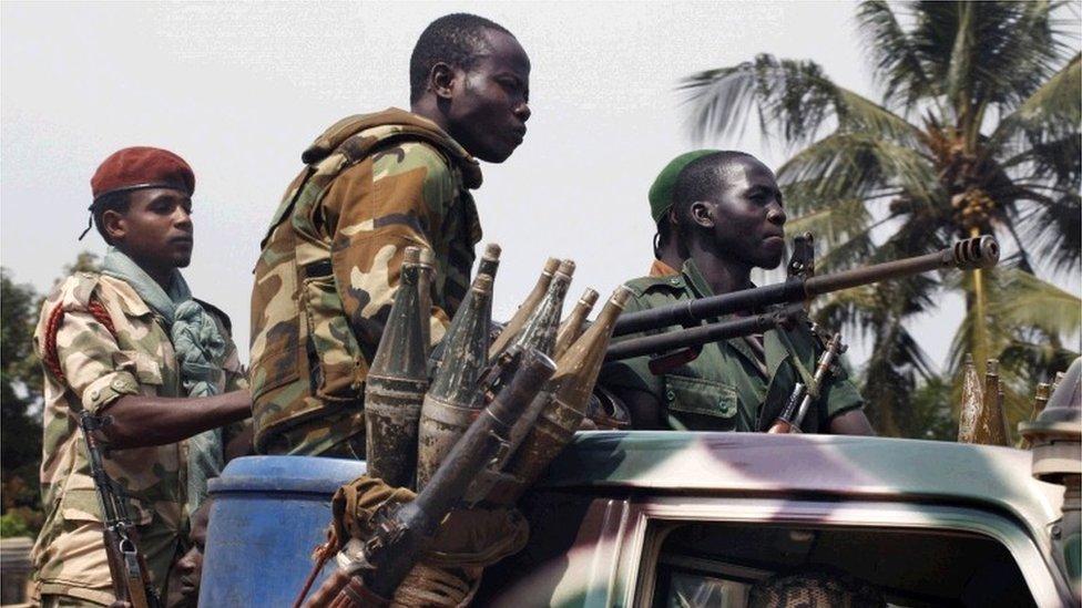 Seleka militia patrol Bangui in December, 2013