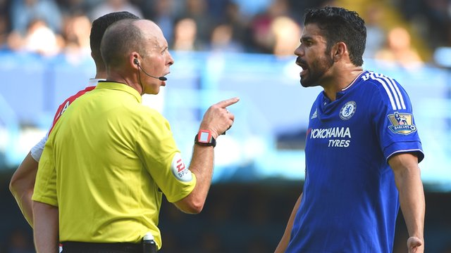 Referee Mike Dean and Chelsea's Diego Costa