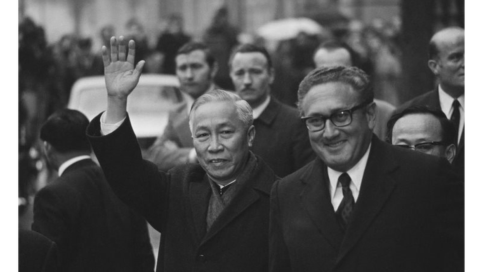 Henry Kissinger (right) and Le Duc Tho during the negotiations for a cease-fire in Vietnam in 1973