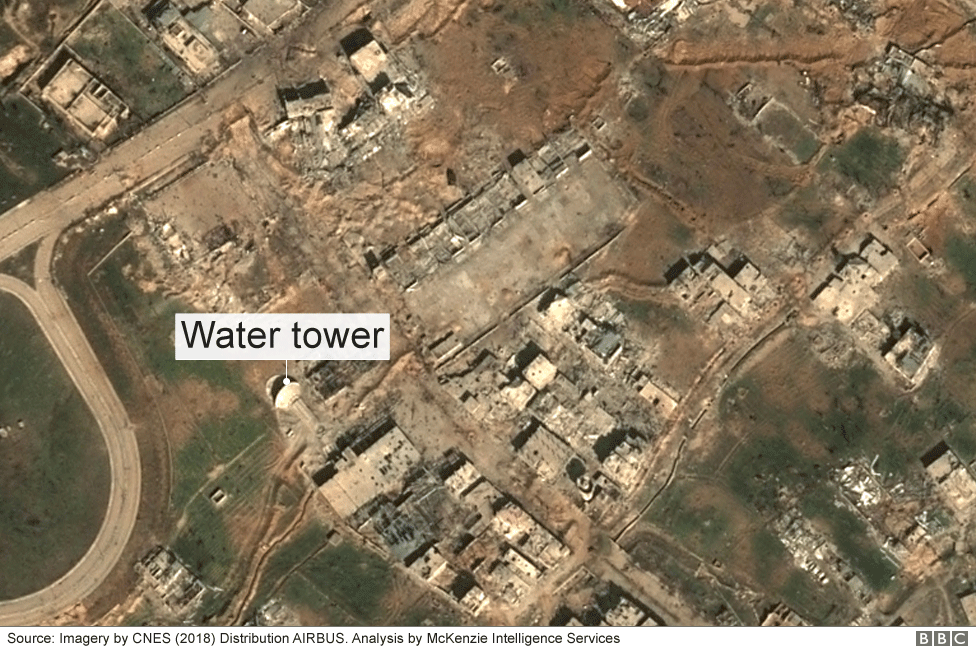 Satellite image of a damaged water tower in the Eastern Ghouta, Syria