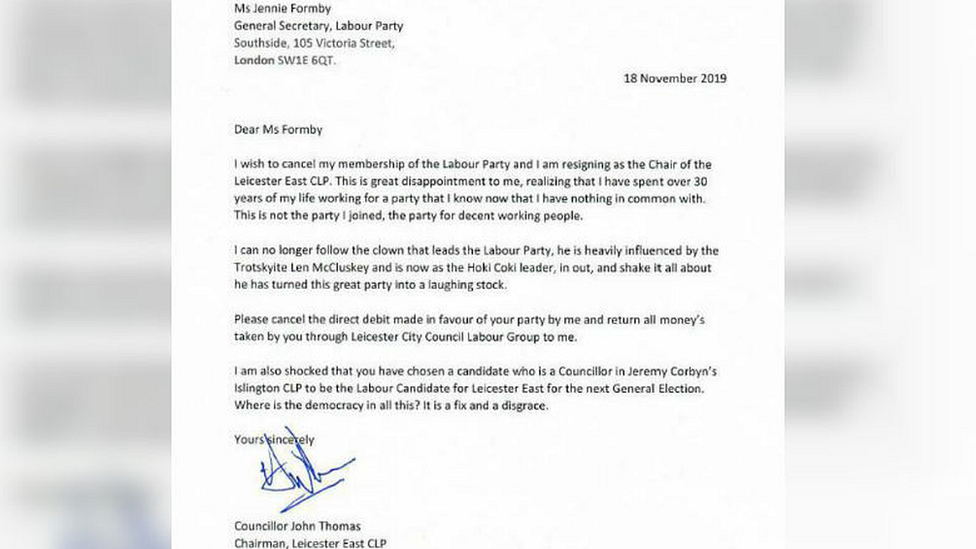 Leicester East resignation letter
