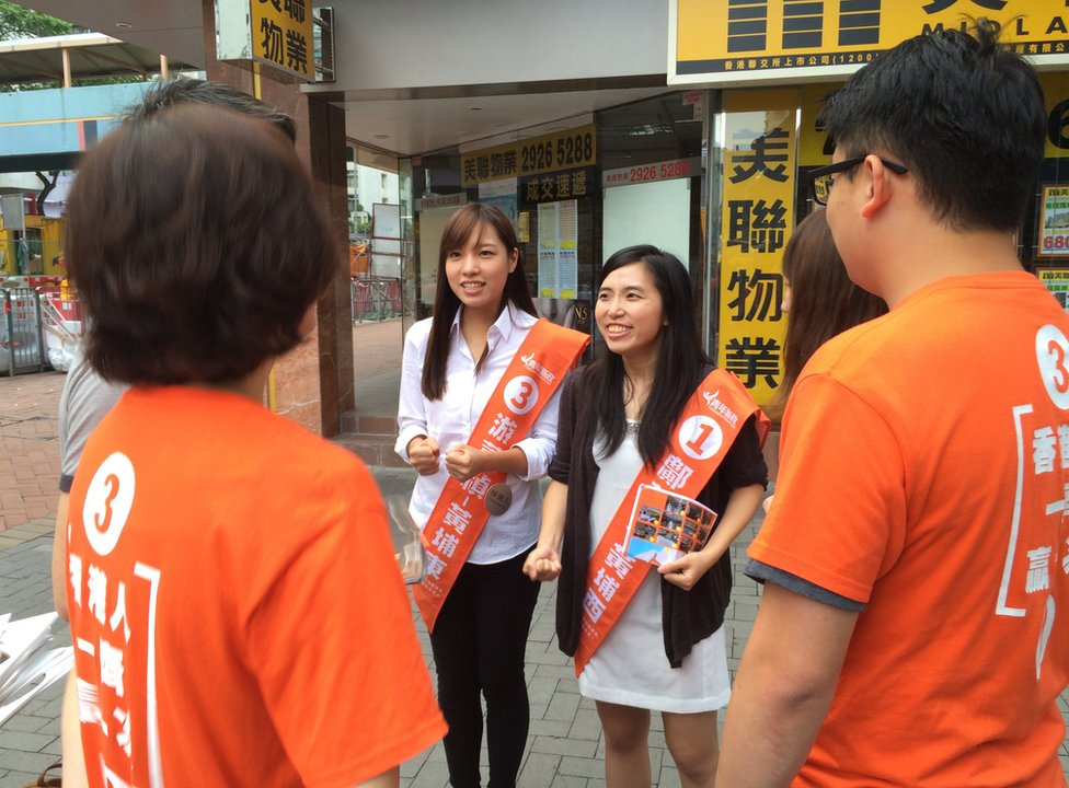 Picture of Yau Wai Ching and Kwong Po Yin, candidates in Hong Kong's local elections on 22 November 2015