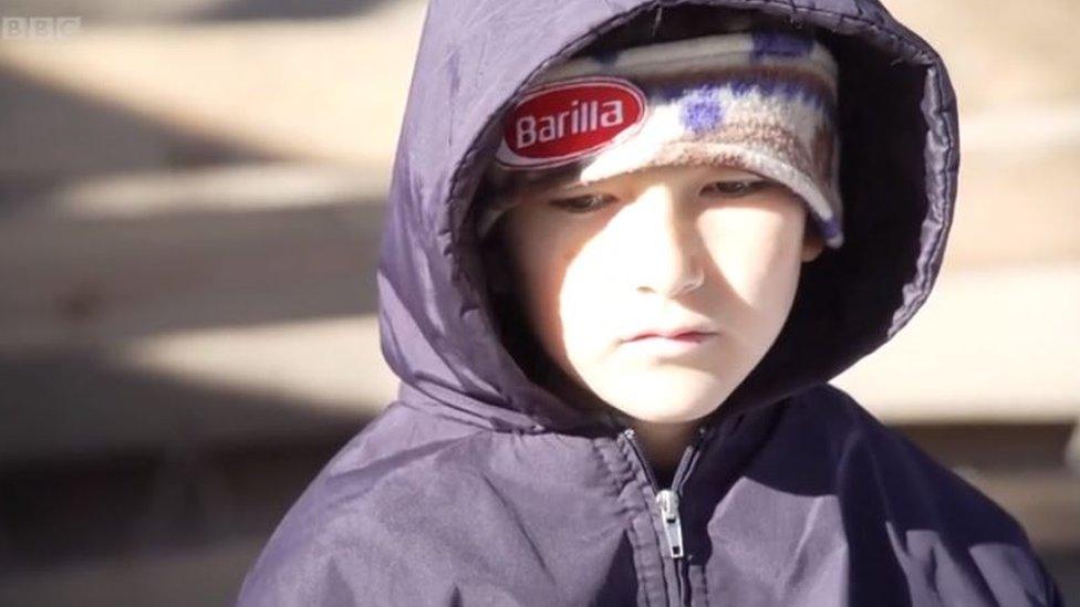 Niño refugiado.