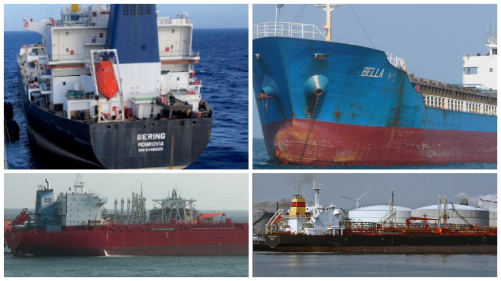 Los buques Bella, Bering, Pandi y Luna f
