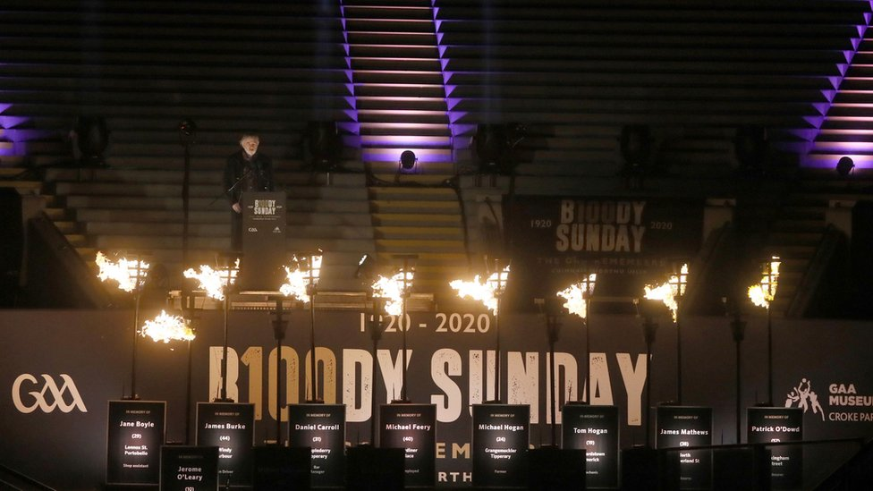 Torches were lit in Croke Park in tribute to the victims of Bloody Sunday