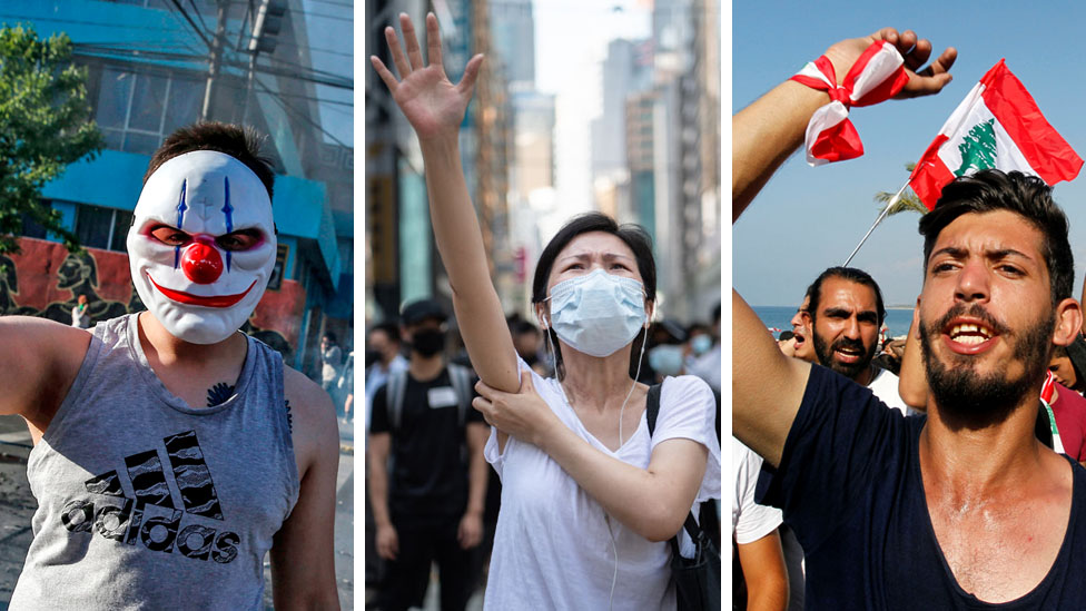 A composite picture shows protesters in Chile, Hong Kong and Lebanon