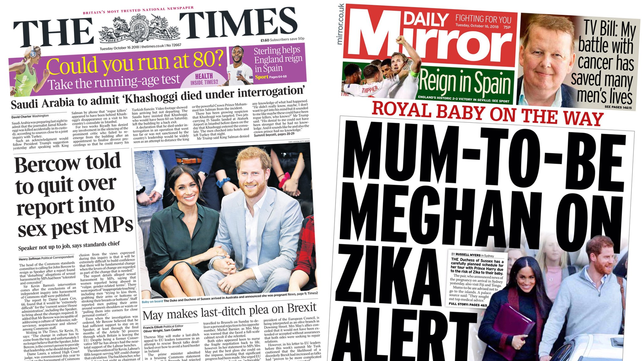 Newspaper headlines: Call for Bercow to quit and Meghan baby news