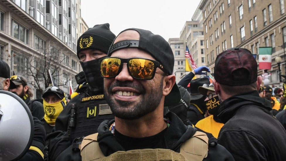 Proud Boys leader 'held for burning Black Lives Matter flag' thumbnail
