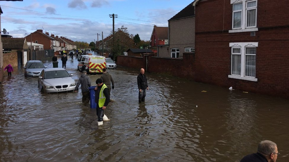 Rising water in Bentley, Doncaster