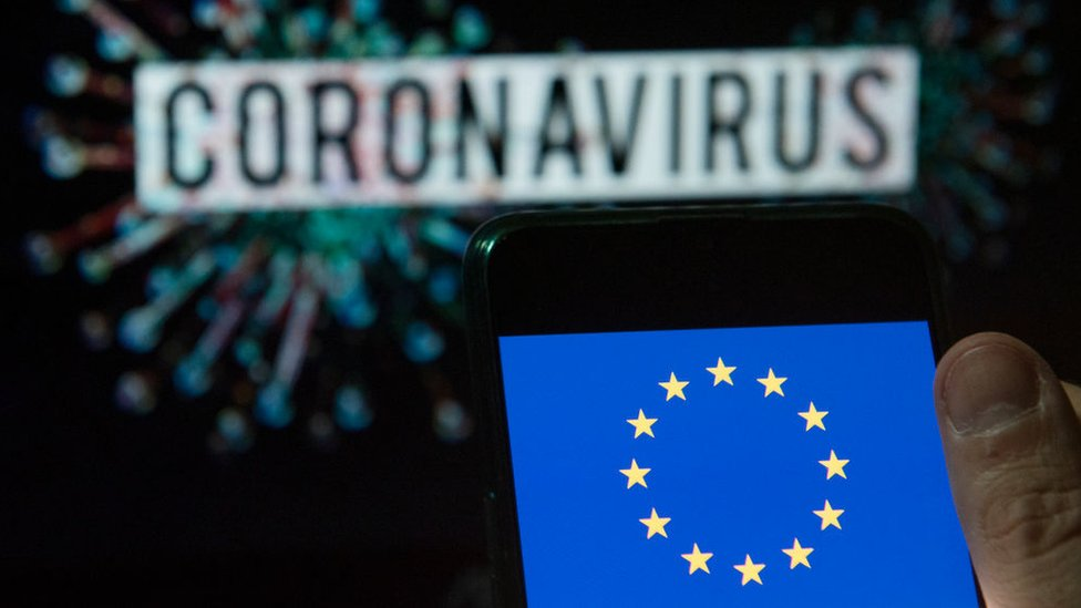 European Union flag displayed on a smartphone with a computer model of the coronavirus in the background