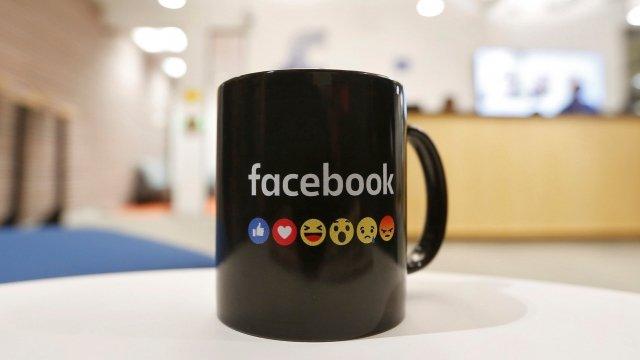 Facebook logo on mug