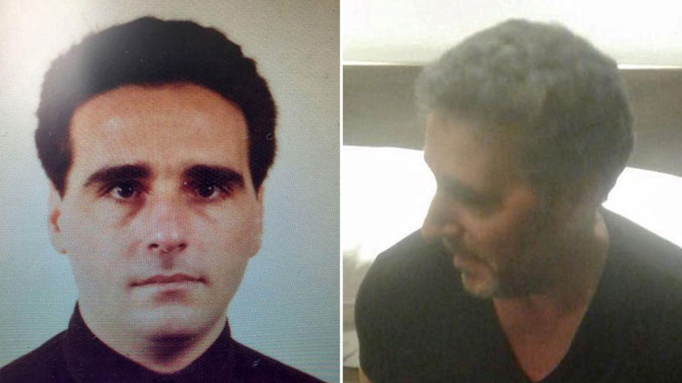 A composite image showing a young Rocco Morabito, left, and right, the same man after his arrest in September 2017