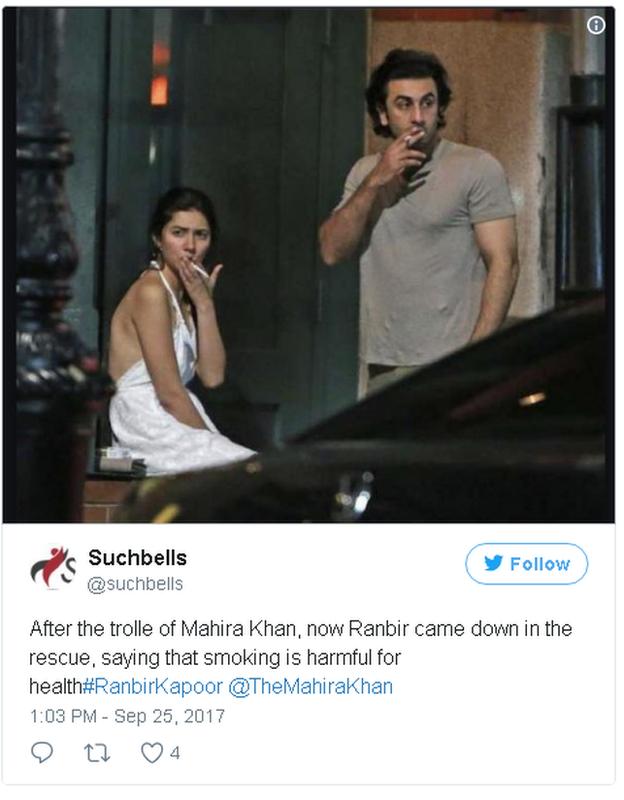 Image of Pakistani actress Mahira Khan and her co-star Ranbir Kapoor smoking