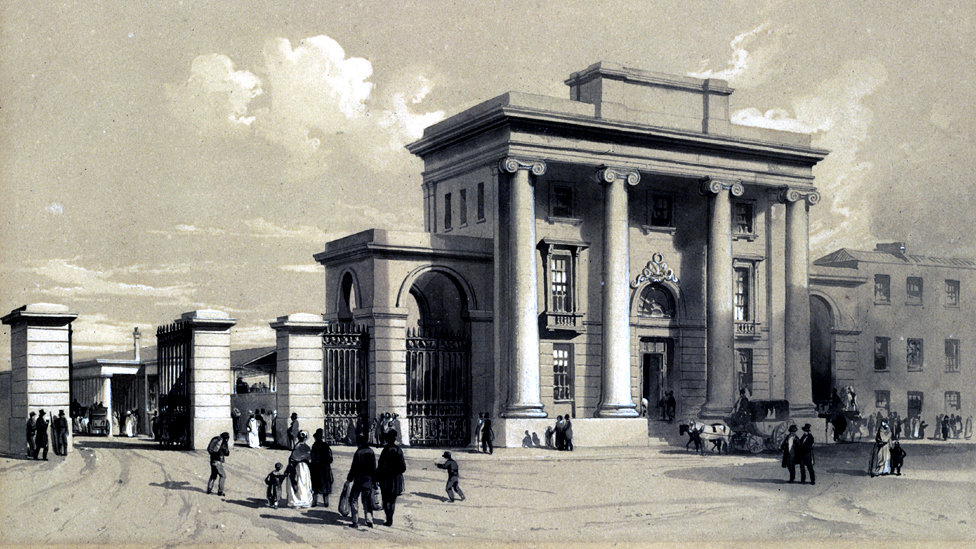 Entrance to Birmingham's Curzon Street station, September 1838