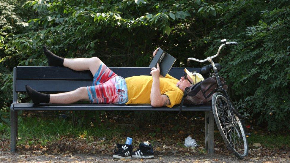 Hombre leyendo junto a su bicicleta en el banco de un parque en Ámsterdam.