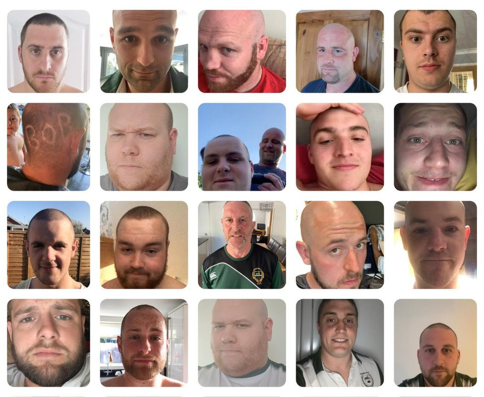 People shaved their heads in Bob's memory