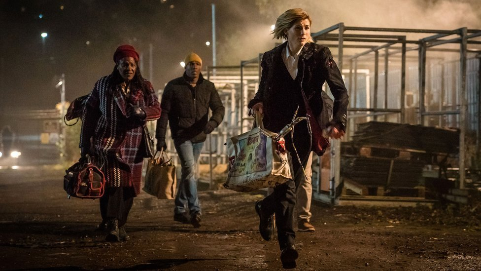 Picture shows Grace (Sharon D Clarke), Ryan (Tosin Cole), The Doctor (Jodie Whittaker)