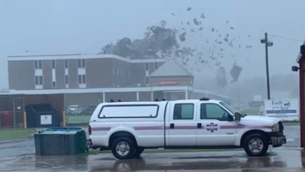 Wind torn off Louisiana hospital