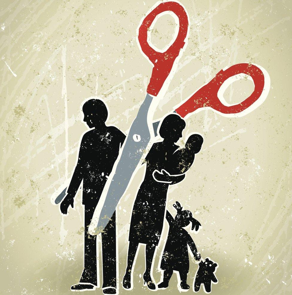 Familia siendo separada por una tijera